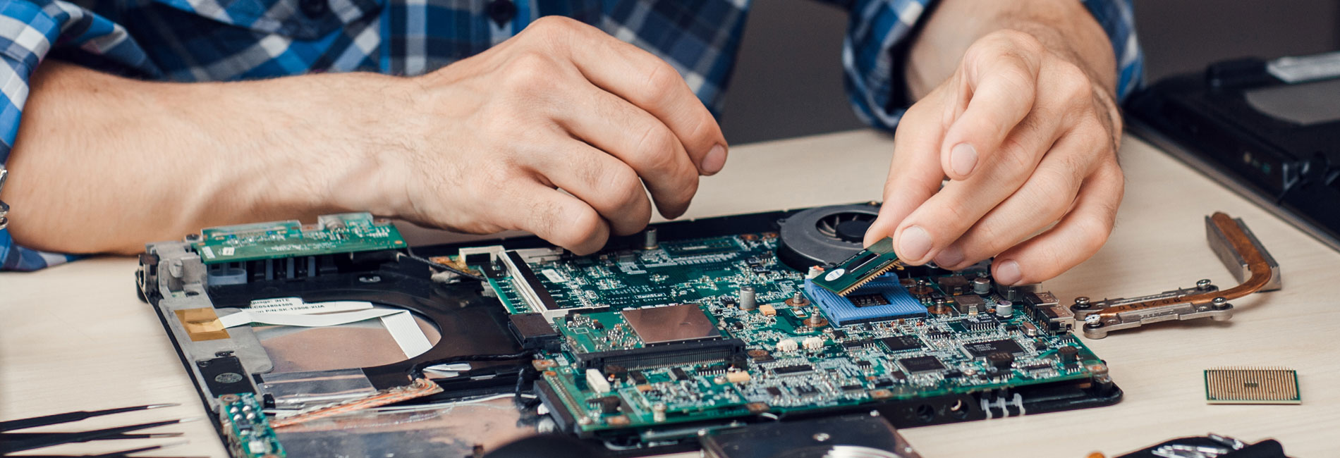 Technician with Circuit Board